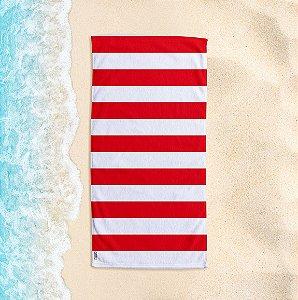 Toalha de Praia Yuzo 70x140cm Listrada Vermelha