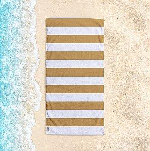 Toalha de Praia Yuzo 70x140cm Listrada Dourado