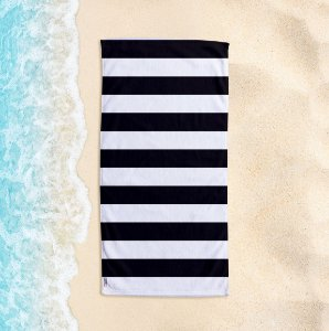 Toalha de Praia Yuzo 70x140cm Listrada Preta