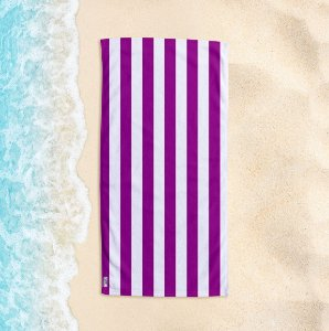 Toalha de Praia Yuzo 70x140cm Listrada Roxa