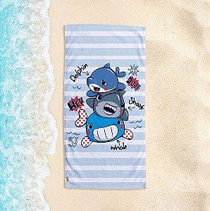 Toalha de Praia Yuzo 70x140cm Infantil Tubarão