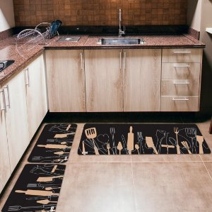 Kit 3 Tapetes de Cozinha Yuzo Utensílios Preto