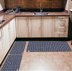 Kit 3 Tapetes de Cozinha Yuzo Abstrato Azul Marinho