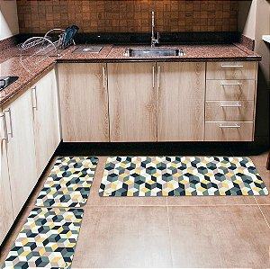 Kit 3 Tapetes de Cozinha Yuzo Geométrico Colorido