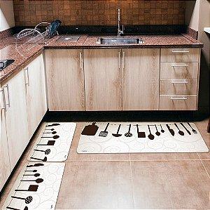 Kit 3 Tapetes de Cozinha Yuzo Utensílios Branco