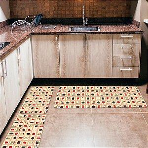 Kit 3 Tapetes de Cozinha Yuzo Utensílios Bege