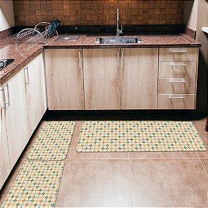 Kit 3 Tapetes de Cozinha Yuzo Abstrato Colorido