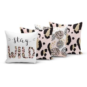 Kit 4 Capas de Almofadas Yuzo 45x45cm Stay Wild Animal Print