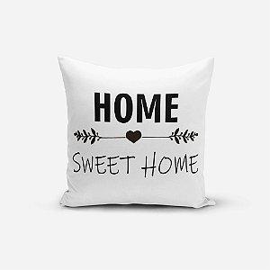 Almofada Avulsa Yuzo 45x45cm Home Sweet Home Preto e Branco