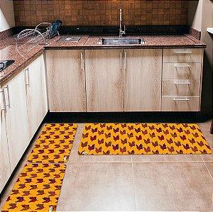 Kit 3 Tapetes de Cozinha Yuzo Galinhas Fundo Amarelo