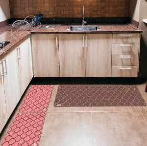 Kit 3 Tapetes de Cozinha Yuzo Geométrico Rosa