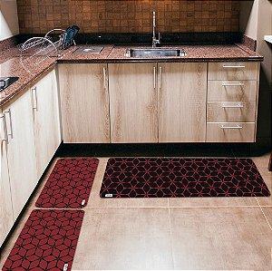 Kit 3 Tapetes de Cozinha Yuzo Geométrico Vermelho