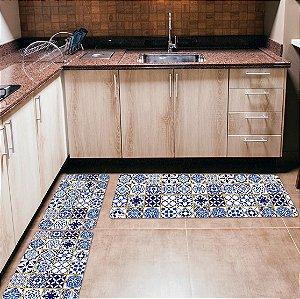 Kit 3 Tapetes de Cozinha Yuzo Português Azul