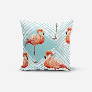 Almofada Avulsa Yuzo 45x45cm Flamingo Azul Claro