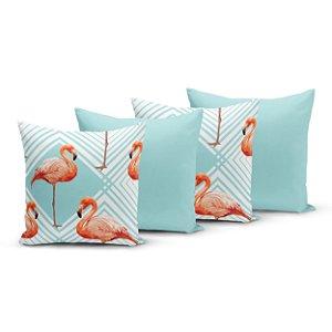 Kit 4 Capas de Almofadas Yuzo 45x45cm Flamingo Azul Claro