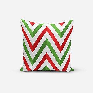 Almofada de Natal Avulsa Yuzo 45x45cm Chevron Verde, Vermelho e Branco