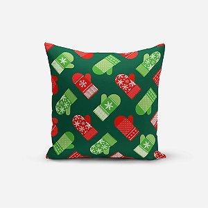 Almofada de Natal Avulsa Yuzo 45x45cm Luvas Fundo Verde