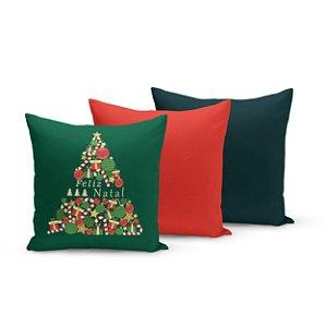 Kit 3 Almofadas de Natal Yuzo 45x45cm Feliz Natal Fundo Verde