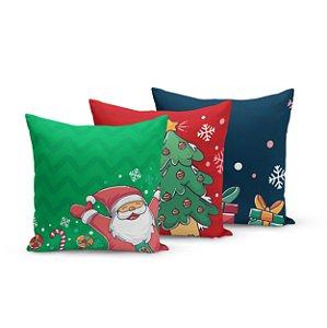 Kit 3 Almofadas de Natal Yuzo 45x45cm Papai Noel Fundo Verde