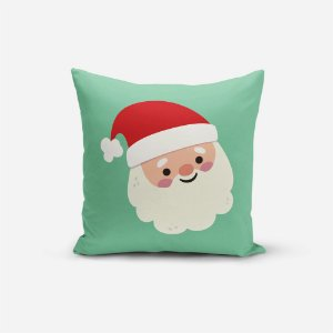 Almofada de Natal Avulsa Yuzo 45x45cm Papai Noel Fundo Azul Claro