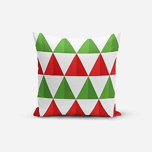 Capa de Almofada de Natal Avulsa Yuzo 45x45cm Triângulos Verde, Vermelho e Branco