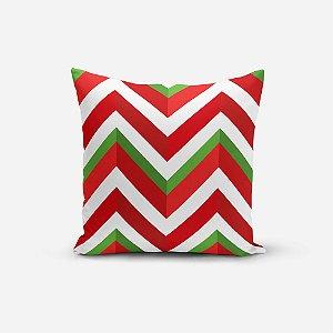 Capa de Almofada de Natal Avulsa Yuzo 45x45cm Chevron Verde, Vermelho e Branco