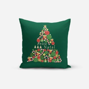 Capa de Almofada de Natal Avulsa Yuzo 45x45cm Feliz Natal Fundo Verde