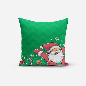 Capa de Almofada de Natal Avulsa Yuzo 45x45cm Papai Noel Fundo Verde