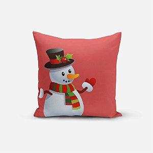 Capa de Almofada de Natal Avulsa Yuzo 45x45cm Boneco de Neve Fundo Rosê