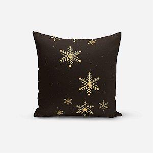 Capa de Almofada de Natal Avulsa Yuzo 45x45cm Estrelas Fundo Preto