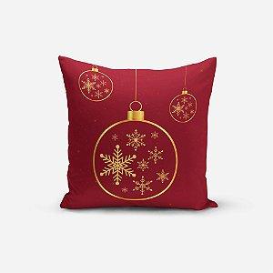 Capa de Almofada de Natal Avulsa Yuzo 45x45cm Estampa Natal Vermelho