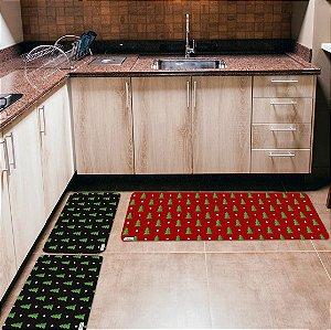 Kit 3 Tapetes de Cozinha Yuzo Natal Pinheiros
