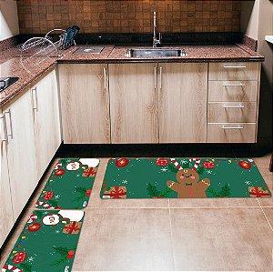 Kit 3 Tapetes de Cozinha Yuzo Natal Bonecos Fundo Verde