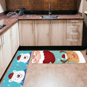 Kit 3 Tapetes de Cozinha Yuzo Papai Noel Fundo Azul