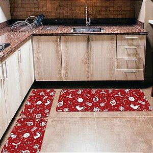 Kit 3 Tapetes de Cozinha Yuzo Enfeites de Natal Fundo Vermelho