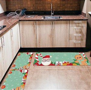 Kit 3 Tapetes de Cozinha Yuzo Papai Noel Fundo Verde