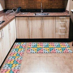 Kit 3 Tapetes de Cozinha Yuzo Natal Enfeites Colorido