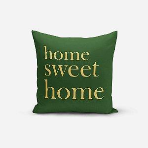 Capa de Almofada Avulsa Yuzo 45x45cm Home Sweet Home Verde