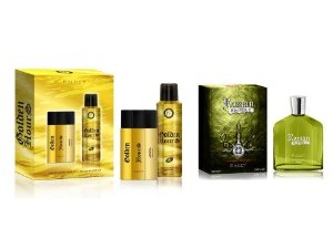 KIT- NATAL PAPAI NOEL CHEGOU  ESTOJO GOLDEN HOURS 2 PÇS EDT 100ML + DESO 200ML + 1 ROMAN EMPIRE 100 ML