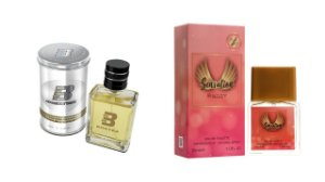 PERFUME BOXTER WHITE 100ML + SENSATION ENTITY 25ML- 1 PÇ CADA