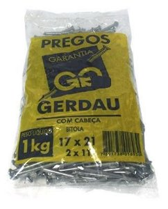 PREGOS 17X21 C/ CABEÇA 1 Kg - GERDAU