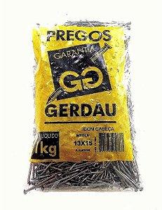 PREGOS 13x15 C/ CABEÇA 1 KG - GERDAU
