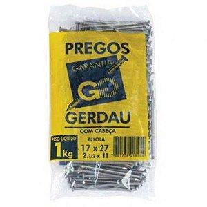 PREGOS 17X27 C/ CABEÇA 1 KG - GERDAU