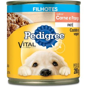 Lata Patê Pedigree Cães Filhotes Carne e Frango 290g