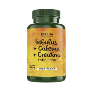 TRIBULUS + CAFEÍNA + CREATINA - 60 cápsulas - 500mg - Linha Premium