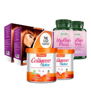 KIT PROMOCIONAL 02 COLÁGENO ACTIVE SABOR ABACAXI + 02 THE HAIR WOMAN + 02 MULHER MAIS 60 CAPS