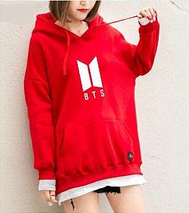 Moletom Hoodie Longo BTS - Logo Nova - Três Cores
