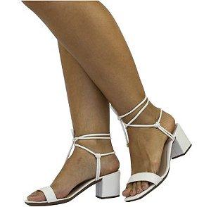 Sandália de Salto Quadrado TIRAS de COURO ENLAÇADAS