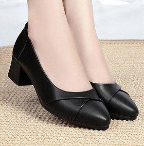 Sapato Salto Quadrado de Couro BLACKLAYER