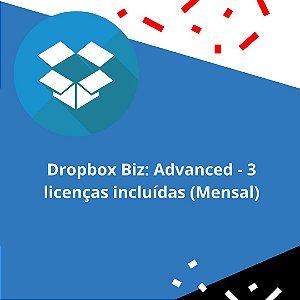 Dropbox Biz: Advanced - 3 licenças incluídas (Mensal)